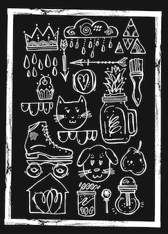 Ensemble ligné dessiné à la main pour carte, décoration de vacances
