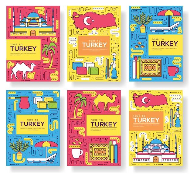 Ensemble de ligne mince de cartes de brochure de pays turquie