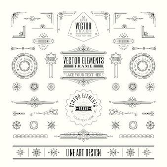 Ensemble de ligne mince linéaire art déco rétro design vintage