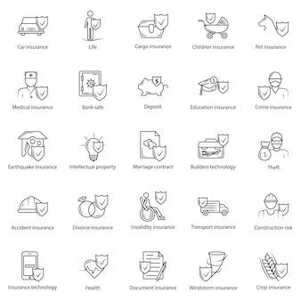 Ensemble de ligne simple d'icônes d'assurance.