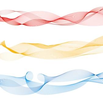 Ensemble de lignes abstraites vague lisse colorée