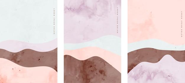 Ensemble de lignes de courbe d'art créatif peint à la main minimaliste