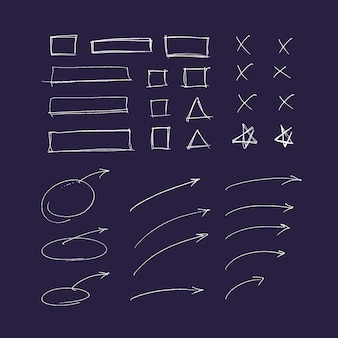 Ensemble de lignes et de flèches colorées dessinés à la main. éléments surligneur
