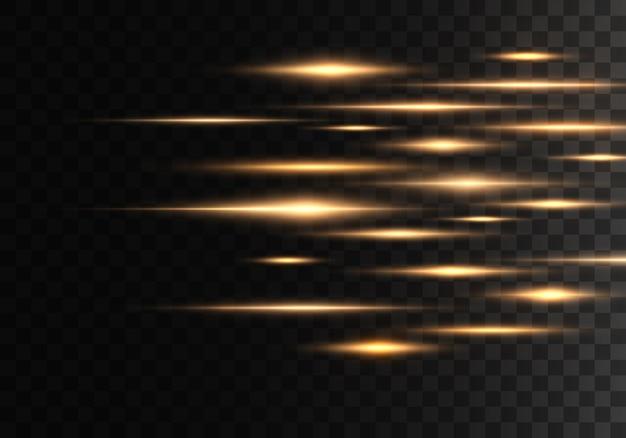 Ensemble de lignes de lentilles de rayons horizontaux. rayons lasers.