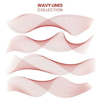 Ensemble de lignes ondulées isolé sur une illustration vectorielle de fond blanc