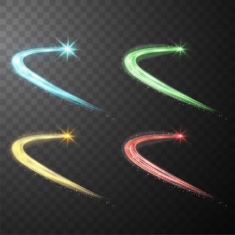 Ensemble de lignes spirales brillantes brillantes abstraites vitesse de la lumière et brillant sentier ondulé