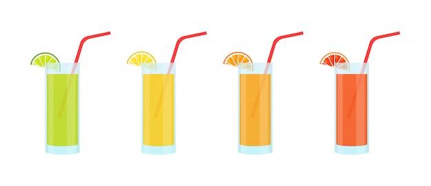 Ensemble de limonades dans des verres en verre. citron vert, citron, orange et pamplemousse.