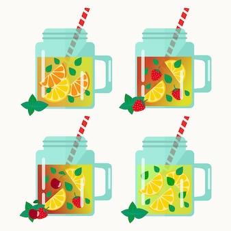 Ensemble de limonades en pots. plat