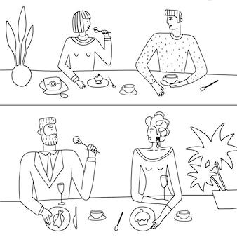 Ensemble linéaire dessiné à la main de couples à la mode dans un café buvant du café et déjeunant à colorier à la mode il ...