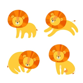 Ensemble de lions heureux pour les impressions et les motifs sur papier textile et autres matériaux