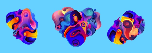 Ensemble de liquide abstrait iilustration de forme liquide