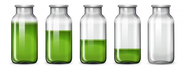 Ensemble de liquide vert en bouteille