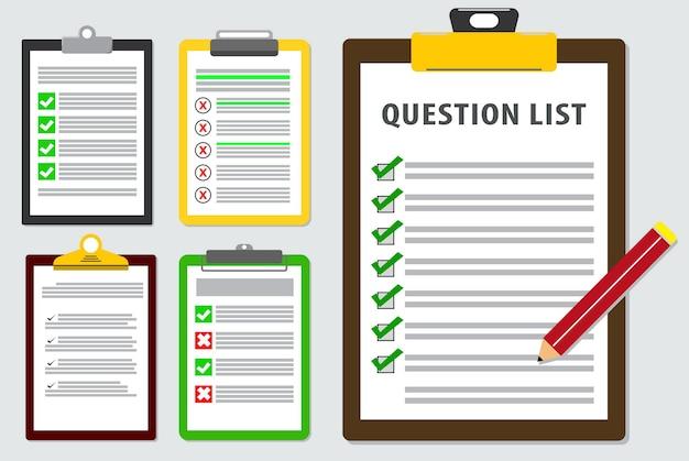 Ensemble de liste d'enquête ou de rapport de liste de questionnaire dans un vecteur eps de style plat