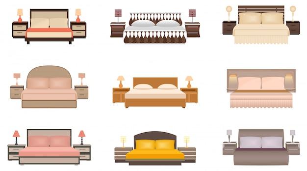 Ensemble de lit neuf de couleurs chaudes avec tables de chevet, lampes et têtes de lit