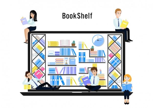 Ensemble de livre dans la bibliothèque en ligne sur l'ordinateur portable et le groupe de gens d'affaires.