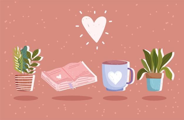 Ensemble de livre, tasse à café et plantes avec illustration de coeur.