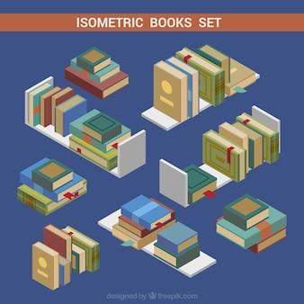 Ensemble de livres dans le style isométrique