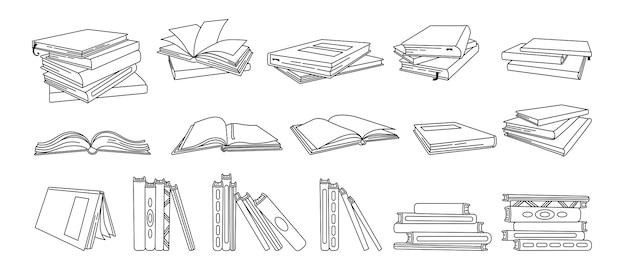 Ensemble de livres dessinés à la main