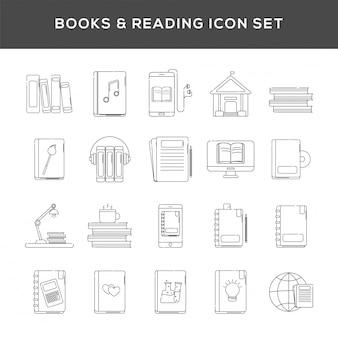 Ensemble de livres et icône de lecture en dessin au trait.