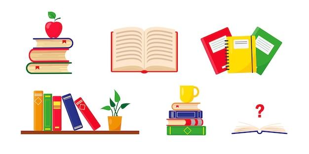 Ensemble de livres et piles de livres pour l'enseignement scolaire