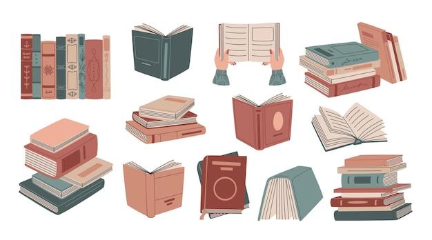 Ensemble de livres rétro dans des couvertures colorées en style cartoon. des piles de littérature et de manuels pour la lecture et l'éducation. illustration dessinée à la main isolée sur fond blanc. style plat moderne.