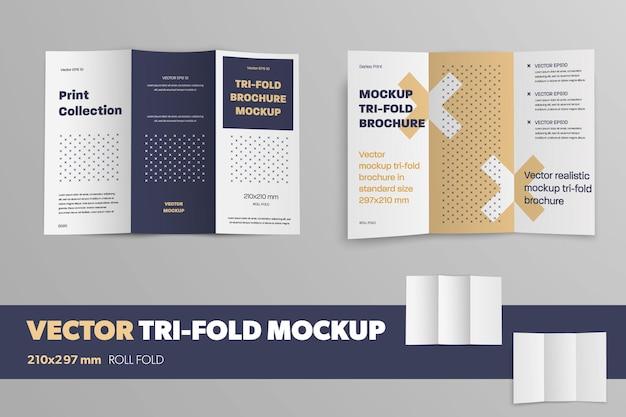 Ensemble de livret vectoriel ouvert sur fond gris avec un motif. brochure réaliste de maquette pour la conception de présentation. modèle à trois volets d'entreprise avec des ombres.