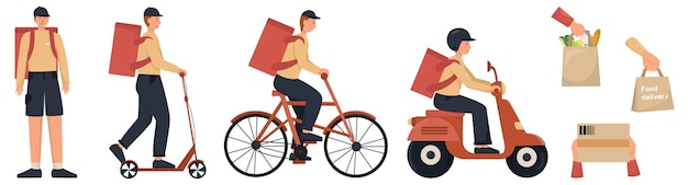 Ensemble de livreur. courrier en uniforme avec transport, sac à dos