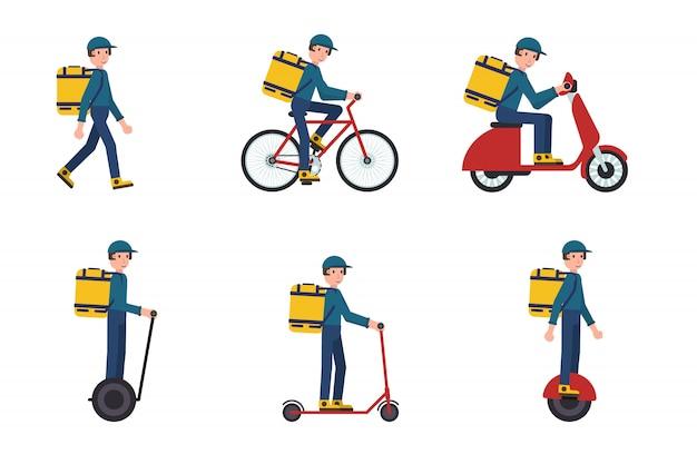 Ensemble de livreur à pied, scooter, vélo, mono-roue, segway. illustration vectorielle stock au design plat.