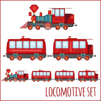 Ensemble de locomotives vintage sur fond blanc