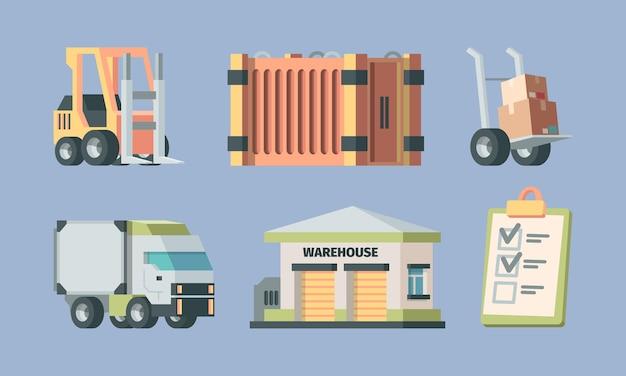 Ensemble logistique et transport en entrepôt