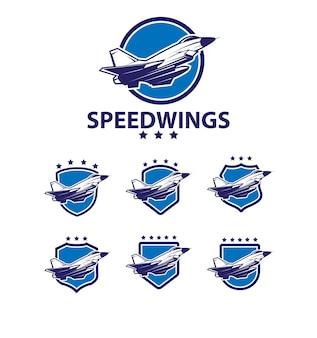 Ensemble de logo d'ailes de vitesse