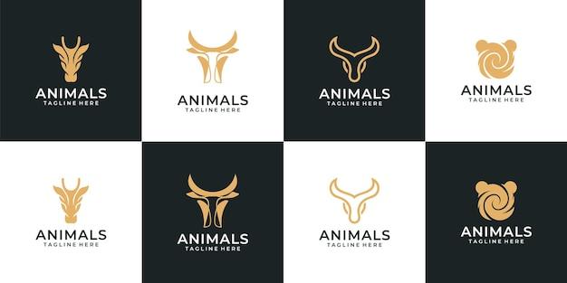 Ensemble de logo animal silhouette hipster rétro