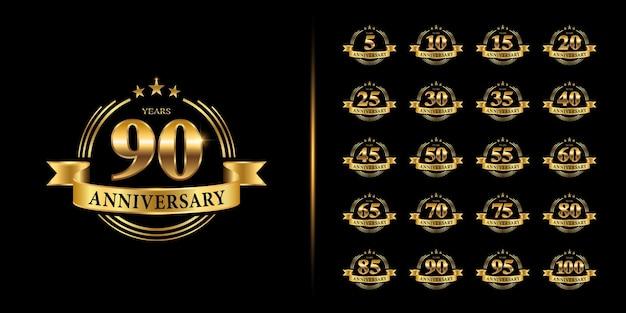 Ensemble de logo anniversaire. célébration d'anniversaire d'or.