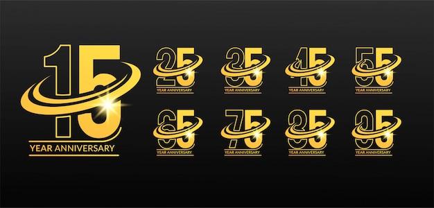 Ensemble de logo anniversaire dynamique or avec cercle swoosh