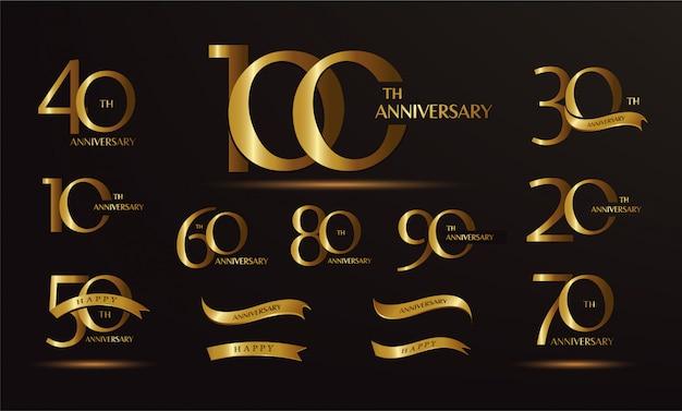 Ensemble de logo anniversaire et ruban d'or. conception d'emblème de célébration d'anniversaire d'or