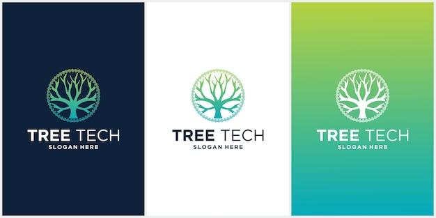 Ensemble de logo d'arbre technologique