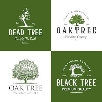 Ensemble de logo d'arbre vintage rétro