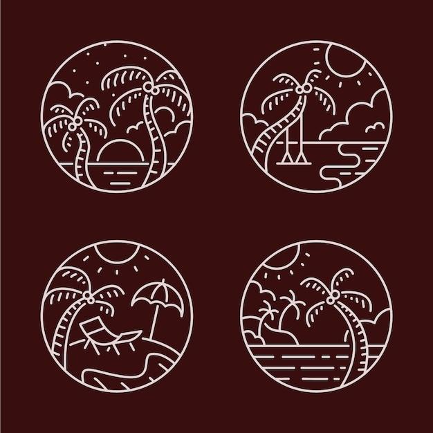 Ensemble de logo d'art en ligne paradise beach