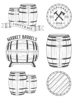 Ensemble de logo d'ateliers de tonnellerie