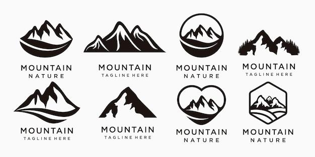 Ensemble de logo d'aventure avec l'icône de la montagne vecteur premium