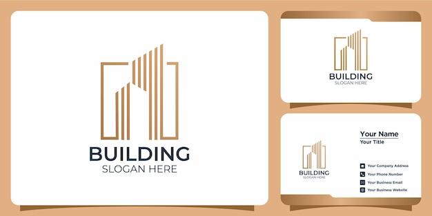 Ensemble de logo de bâtiment minimaliste avec création de logo de style art en ligne et modèle de carte de visite