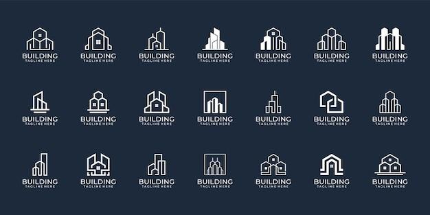 Ensemble de logo de bâtiment monogramme créatif