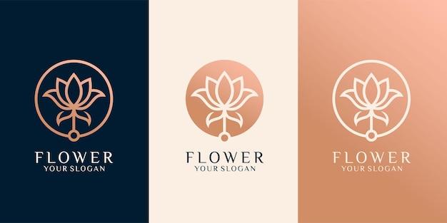 Ensemble de logo de beauté rose ou fleur de luxe .logo peut être utilisé pour l'icône, la marque, l'identité, la femme, la création, l'or et l'entreprise vecteur premium