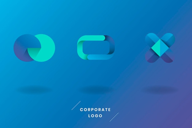 Ensemble de logo bleu turquoise