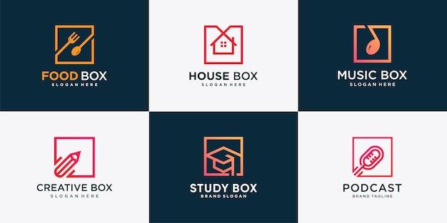 Ensemble de logo de boîte avec un style d'élément différent vecteur premium