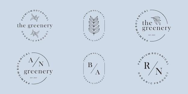 Ensemble de logo botanique lettre fleur feuillage insigne de conception de logo. invitation de mariage