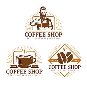 Ensemble de logo café, insigne étiquette café ou pack emblème