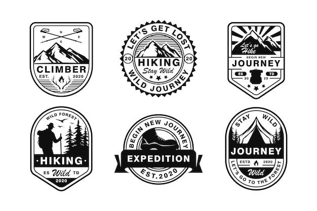 Ensemble de logo de camping et de plein air