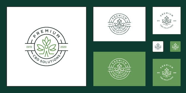 Ensemble de logo de cannabis médical santé de la marijuana