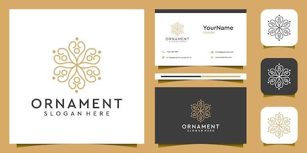 Ensemble de logo et carte de visite d'ornement féminin